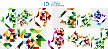 Set of triangle abstract backgrouunds. Modern templates for cover design for brochures, web banners, flyers. Vector art 向量圖像