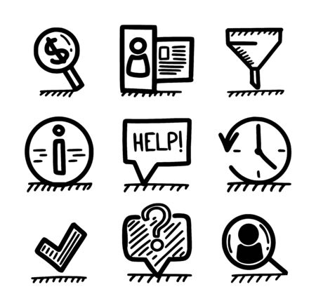 Hand drawn web icons - money finding, user profile, filtering, information, help, time, tick mark, question and hiring concepts.