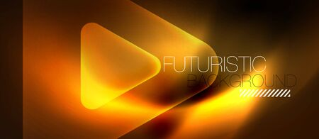 Shiny abstract glowing neon geometric background with abstract glass trasparent triangles. Technology futuristic or business design template with copyspace Ilustracja