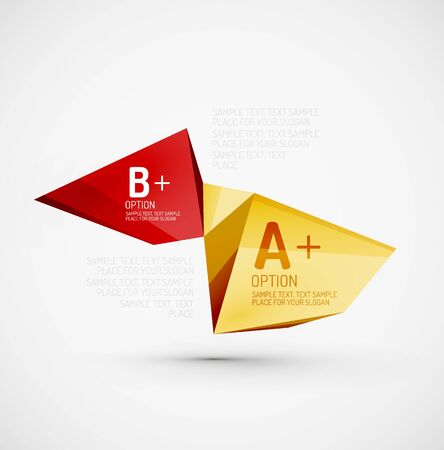 Low poly design 3d style, origami template with infographics. Option steps illustration