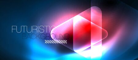 Shiny abstract glowing neon geometric background with abstract glass trasparent triangles. Technology futuristic or business design template with copyspace Illusztráció
