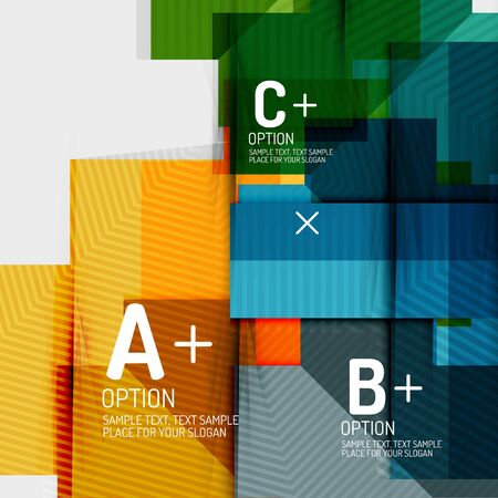 Infographics with a b c steps, option workflow layout diagram, triangle geometric shapes. Vector art