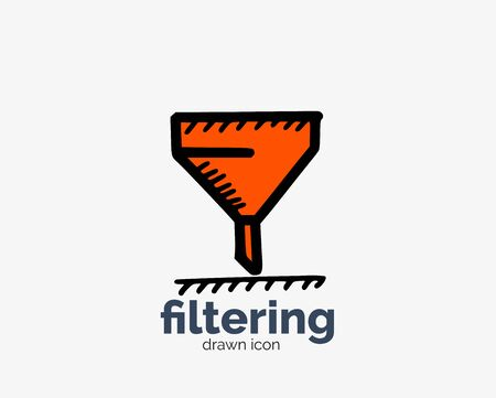 Hand drawn filtering cone doodle icon