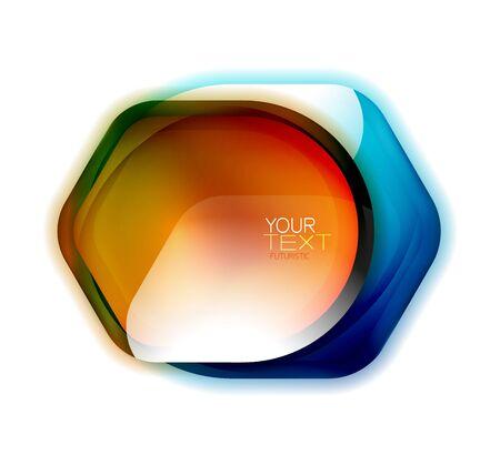 Glass safety, protection icon or banner for text. Shield badge background, color trasparent effect banner Ilustração