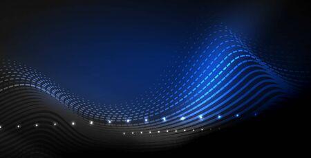 Glühende abstrakte Welle auf dunkler, glänzender Bewegung, magisches Raumlicht. Techno abstrakten Hintergrund Vektorgrafik
