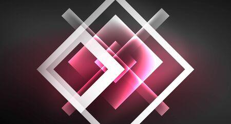 Neon shiny color squares on black, modern template Zdjęcie Seryjne - 133355790