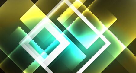 Shiny neon design square shape abstract background. Retro vector abstract design banner template 向量圖像