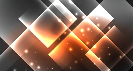 Neon shiny color squares on black, modern template. Vector