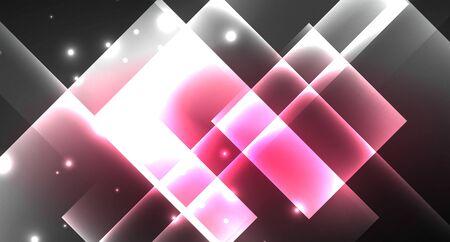 Neon shiny color squares on black, modern template Ilustracja