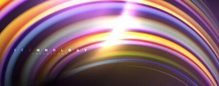 Fluid color swirls on black. Modern background with trendy design Ilustrace