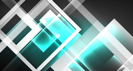 Neon shiny color squares on black, modern template 向量圖像