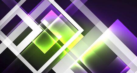 Neon shiny color squares on black, modern template Archivio Fotografico - 133487566