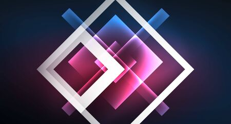 Neon glowing techno square rectangle lines, blue hi-tech futuristic abstract background