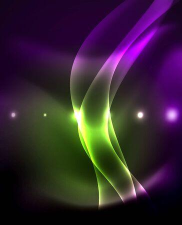 Glossy glowing neon light wave background, vector futuristic techno design