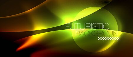 Neon color wave lines abstract background, magic techno futuristic light, vector