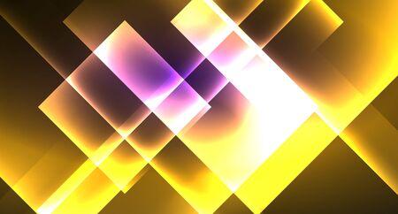 Neon shiny color squares on black, modern template Archivio Fotografico - 133488367