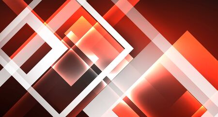 Neon shiny color squares on black, modern template Ilustração