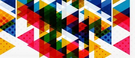 Banner with multicolored mosaic triangle geometric design on white background. Abstract texture. Vector illustration design template. Geometric art pattern background. Ilustração