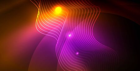 Color neon lights with waves abstract background Ilustracja