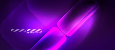 Glass ultraviolet neon block and lines abstract background. Vector shiny lights with geometric transparent lines and plates, light effects