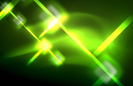 Neon shiny light lines on black, techno modern template Иллюстрация