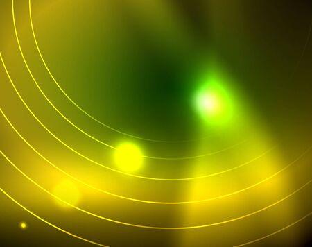 Neon circles abstract background, vector template Иллюстрация