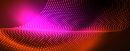 Bright neon circles and wave lines, glowing shiny background design template, digital techno concept. Иллюстрация