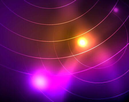 Neon circles abstract background Иллюстрация
