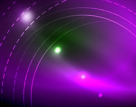 Neon circles abstract background Ilustração