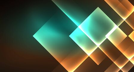 Shiny neon design square shape abstract background. Retro vector abstract design banner template. Vector decorative background. Graphic design geometric shape.