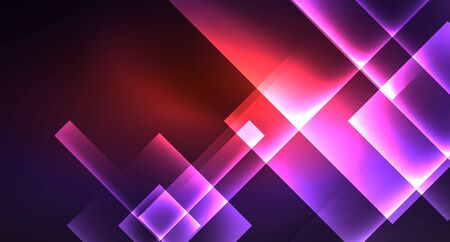 Neon shiny color squares on black, modern template  イラスト・ベクター素材