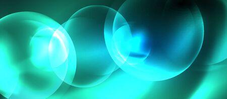 Blue neon bubbles and circles abstract background, futuristic magic techno design Foto de archivo - 133787642