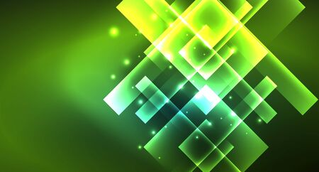 Neon geometric abstract background in hipster style on light background. Space retro design. Color geometric pattern. Square shape abstract background. Foto de archivo - 133787692