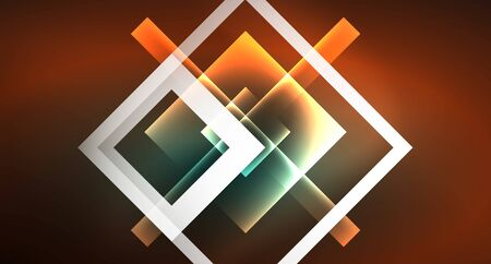 Neon geometric abstract background in hipster style on light background. Space retro design. Color geometric pattern. Square shape abstract background. Foto de archivo - 133787697