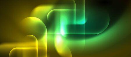 Neon glowing techno lines, blue hi-tech futuristic abstract background template, vector design Foto de archivo - 133818345