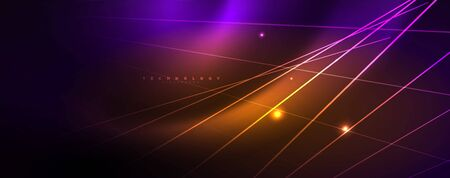 Color light with lines, outer space background, bright rays, vector template Foto de archivo - 133818351