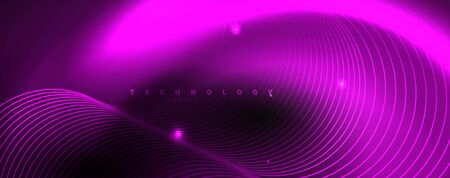 Dark abstract background with bright color neon lights and lines. Glowing background, vector futuristic techno template Foto de archivo - 133818565