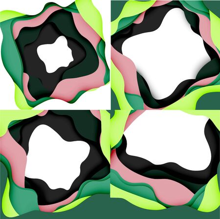 Abstract geometric pattern. 3d paper layers cut out colorful wave background. Origami cut out abstract waves for web background