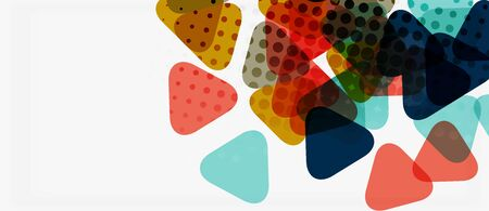 Banner with multicolored mosaic triangle geometric design on white background. Abstract texture. Vector illustration design template. Stockfoto - 133819305
