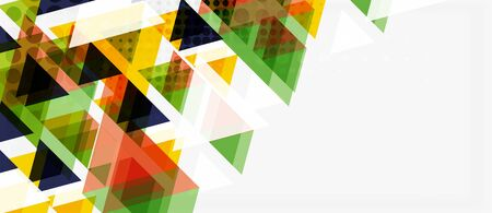 Banner with multicolored mosaic triangle geometric design on white background. Abstract texture. Vector illustration design template. Stockfoto - 133819316