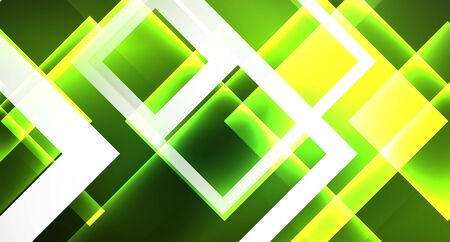 Neon geometric abstract background in hipster style on light background. Space retro design. Color geometric pattern. Square shape abstract background. Foto de archivo - 133819390