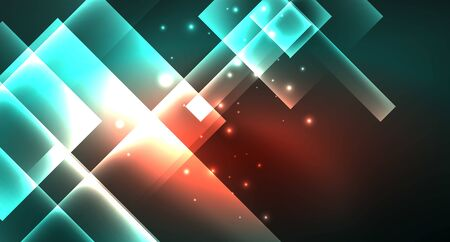 Neon geometric abstract background in hipster style on light background. Space retro design. Color geometric pattern. Square shape abstract background. Foto de archivo - 133819403