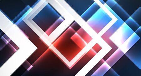 Neon glowing techno square rectangle lines, blue hi-tech futuristic abstract background Foto de archivo - 133819414