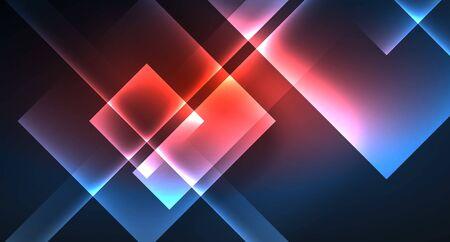 Neon glowing techno square rectangle lines, blue hi-tech futuristic abstract background Foto de archivo - 133819428