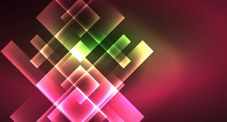 Neon geometric abstract background in hipster style on light background. Space retro design. Color geometric pattern. Square shape abstract background. Foto de archivo - 133819430