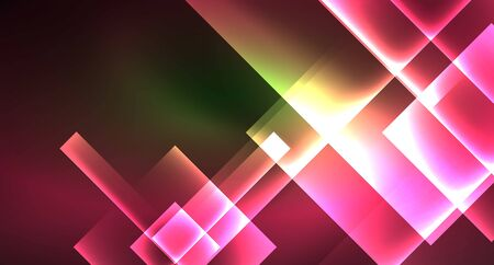 Neon geometric abstract background in hipster style on light background. Space retro design. Color geometric pattern. Square shape abstract background. Foto de archivo - 133819433