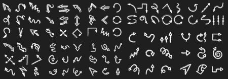Hand drawn arrow icons mega collection, directional symbols, doodles