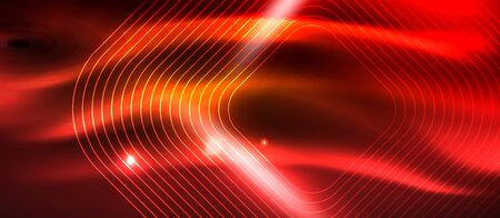 Neon square shapes lines on glowing light background