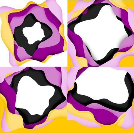 Abstract cut out abstract waves for web design. Color geometric pattern. Vector abstract geometric dynamic pattern frame