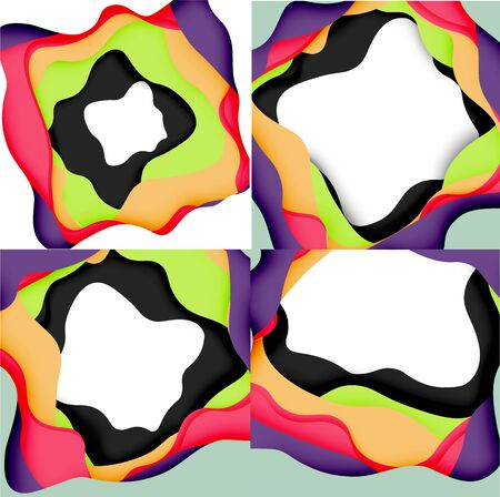 Vector decorative background. Abstract web template with cut out 3d paper abstract waves on light background for decoration design.